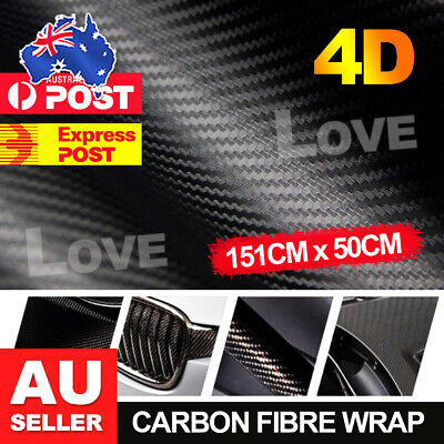 50cm x1.51M 4D Gloss Black Carbon Fibre Fiber Vinyl Car Wrap Air Release Film