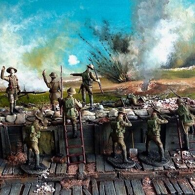 54mm WW1 hand painted trench backdrop and figures depicting 36th Ulster Division