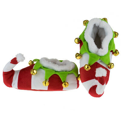 Christmas Elf Slipper Boots Matching Family Novelty Booties Bells Red White