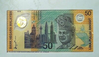 Malaysia 50 Ringgit P45 1998 Polymer Unc Commemorative Commonwealth Game+Folder