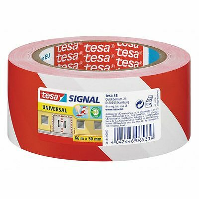 (Eur. 0,07/m-EUR 0,08/m) TESA Signal Warning tape red white 58134 50 mm x 66 m