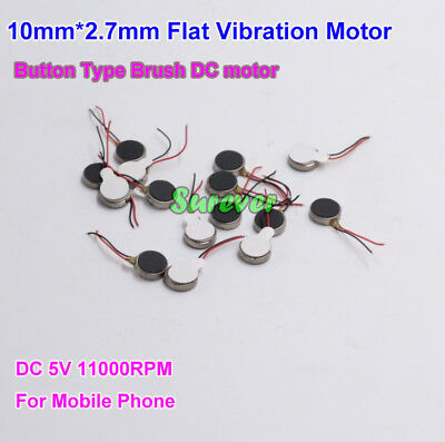 5PCS 10mm*2.7mm Flat Vibration Motor DC 5V 11000RPM Button Type Brush DC motor
