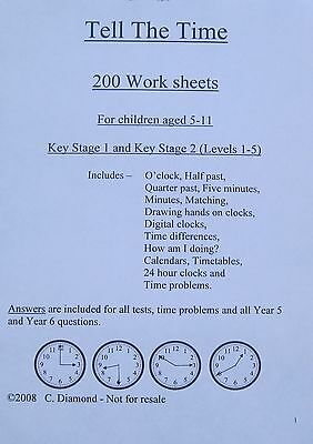 Tell The Time Maths Worksheets - KS1 & KS2  Numeracy Teaching Resource on  CD