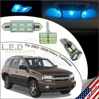 12pcs Interior Lights Led Package Ice Blue For 2002 2009 Chevy Trailblazer