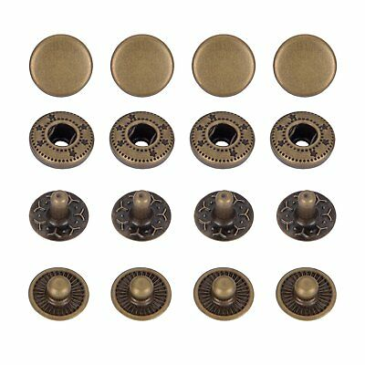 12.5mm Bronze S Spring Press Studs Snap Fastener Poppers Button Sewing Clothing