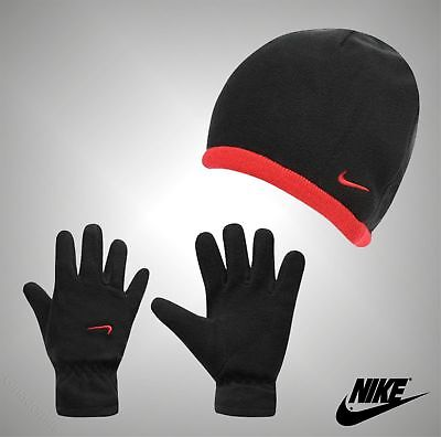 Kids Boys Girls Genuine Nike Varsity Red 2 Piece Winter Polar Hat And Gloves Set