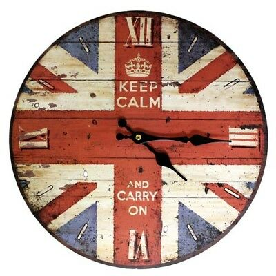 Retro Wall Clock KEEP CALM CARRY ON Union Jack Wooden British Roman Numerals NEW