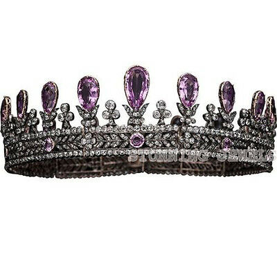Victorian 24.40Ct Rose Cut Diamond Silver Amethyst Crown Tiara Christmas Gift