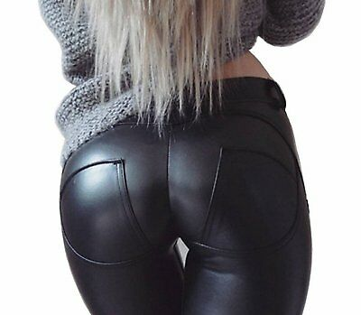 Faux Leather Thickening PU Elastic Shaping Hip Push Up Pants Black Sexy Leggings