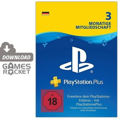 DE Playstation Plus 3 Monate Mitgliedschaft 90 Tage PSN PS Key Code