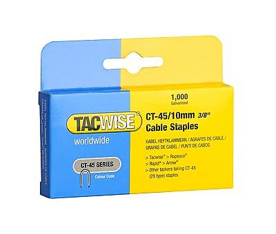 TACWISE CT45 10mm WHITE CABLE TACKER STAPLES, 1,000 PER BOX, FITS CABLE TACKERS