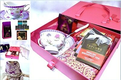 Afternoon Tea Hamper Box - Cup Saucer Set, Chocolate,Biscuits, Tea and Pashmina
