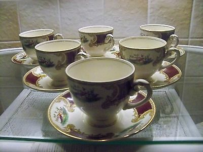 Vintage Myott Staffordshire Chelsea Bird Red Set Of 6 Cups & Saucers G.c.rare