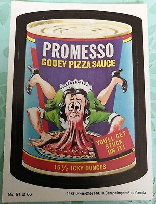 Wacky Packages 1988 OPC O-PEE-CHEE Promesso Gooey Pizza Sauce Card #51