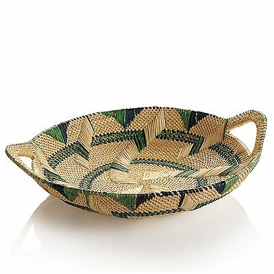 African Basket Natural Millet Tray with Dark Blue Green Accents and Handles