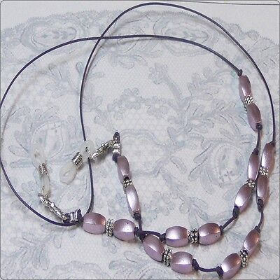Reading eye glasses, spectacle chain holder lanyard  Purple pearl on cord