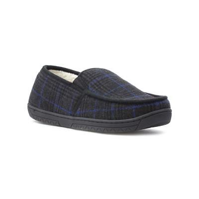 The Slipper Company - Mens Grey Warm Lined Tweed Moccasin Slipper