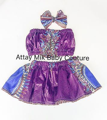 Infant/toddler African Dashiki Skirt Set. Size: New Born To 5t. Size info req.