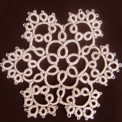 Tatting Snowflake Doily Tatted Lace Ornament Trim Mat Coaster Applique Beige New
