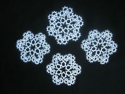 Tatting Snowflakes Tatted Lace Doilies Trim Flowers Applique 4-pcs White New