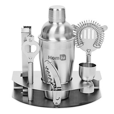 Homiu Deluxe Stainless-Steel Cocktail Home Bar Gift Set 8 Pieces Premium Quality