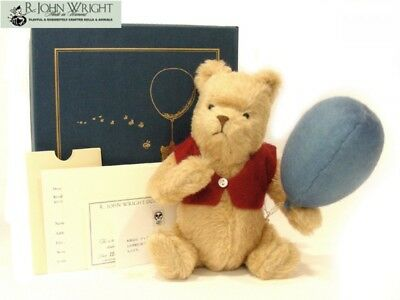 2003 R John Wright Winnie The Pooh with Blue Balloon mohair Plush JP Exclusive