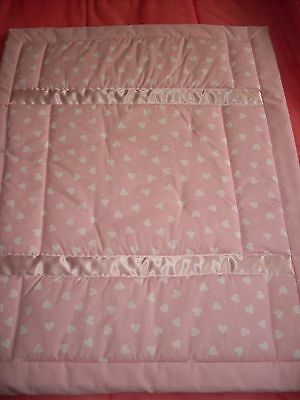 Pram / Crib Quilt - Pink with White Hearts