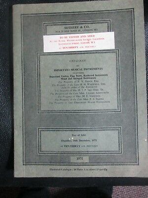Vintage Sotheby Auction Catalogue Important Musical Instruments 1971