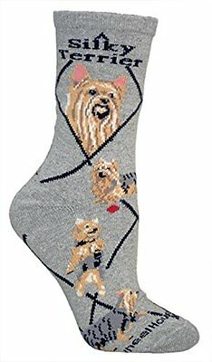 Silky Terrier Dog Breed Gray Lightweight Stretch Cotton Adult Socks