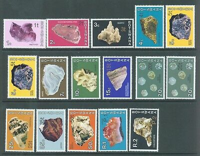 Botswana 1976 minerals surcharged set of 16 includes 2 diff fonts MNH