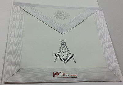 Master Mason Apron White with  Embroidered G