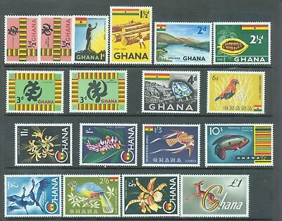 Ghana 1959-61 Definitives incl both 1/2d and 3d set of 18 MNH