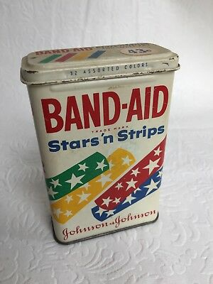 Vintage RARE Band-Aid Stars 'n Strips  for small fry 32 Count TIN NO BANDAGES