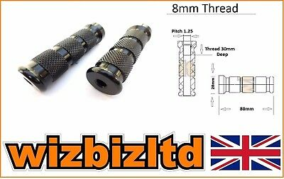 Two Motorbike Foot Pegs for Race Rearsets (8mm Knurled Anodised Black) FOOT8BK