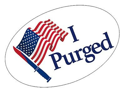 I Purged Stickers Badges Size Small - The Purge Halloween Costume Mask