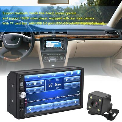 """7"""" Double 2DIN Car MP5 Player Bluetooth Touch Screen Stereo Radio HD +Camera HX"""