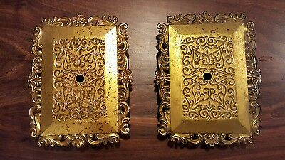Set of 2 Large Vintage Brass Switchplates/Ceiling Medalions/Doorbell Cover