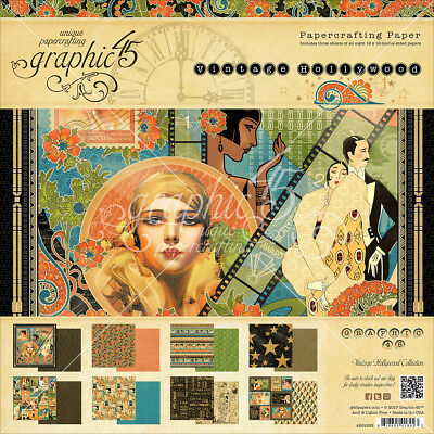 """Graphic 45 Double Sided Paper Pad 12""""X12"""" 24/Pkg Vintage Hollywood, 8 Designs/3"""