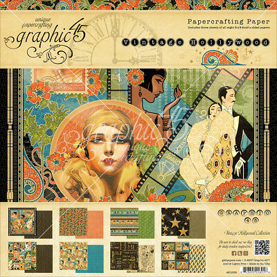 """Graphic 45 Double Sided Paper Pad 8""""X8"""" 24/Pkg Vintage Hollywood, 8 Designs/3 Ea"""
