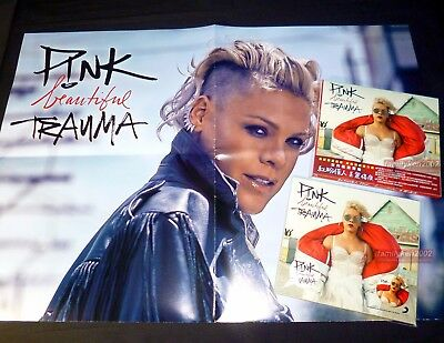 Taiwan Badges+ Poster+ CD NEW Pink 2017 Beautiful Trauma Alecia Beth Moore P!nk