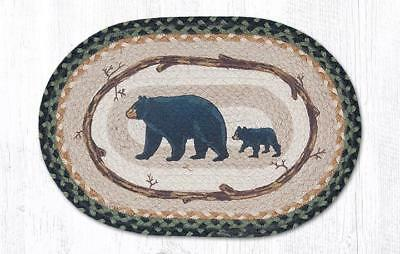 """MAMA & BABY BEAR 100% Natural Jute Oval Placemat, 13"""" x 19"""", by Earth Rugs"""