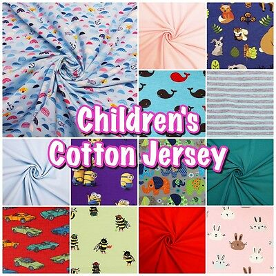 Colourful Soft Children's Cotton Stretch Jersey Dress Fabrics (Sold per 1/2m)