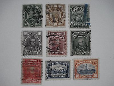 Correos De Bolivia  Lot Of 9 Different Stamps Used Vintage