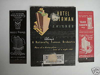 Matchcover Vintage Lot Of  3 -  Hotels Granada, Sherman, Olympic
