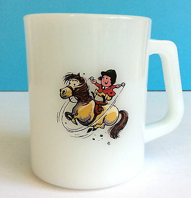 Norman Thelwell Pony Club Girl on White Milk Glass Coffee Mug Federal Heat Proof