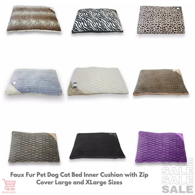 Faux Fur Pet Dog/Cat Bed Inner Cushion with Zip Cover and Separate Covers L / XL