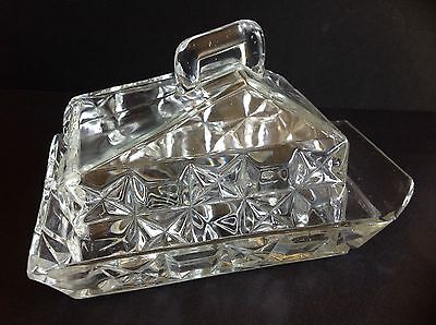 Vintage Depression Pressed Art Deco Style Butter Dish rectangular Clear Glass