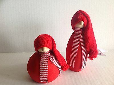 "Two Larssons Tra Christmas Tomte Wood Figurine NWT Tranemo Sweden 5"" & 3.5"" Tall"