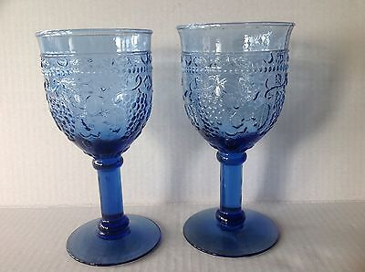 Two Pressed Glass Blue Water Goblets with Grapes and Leaves pattern