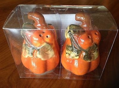 Pumpkins salt and pepper shakers NIB ceramic